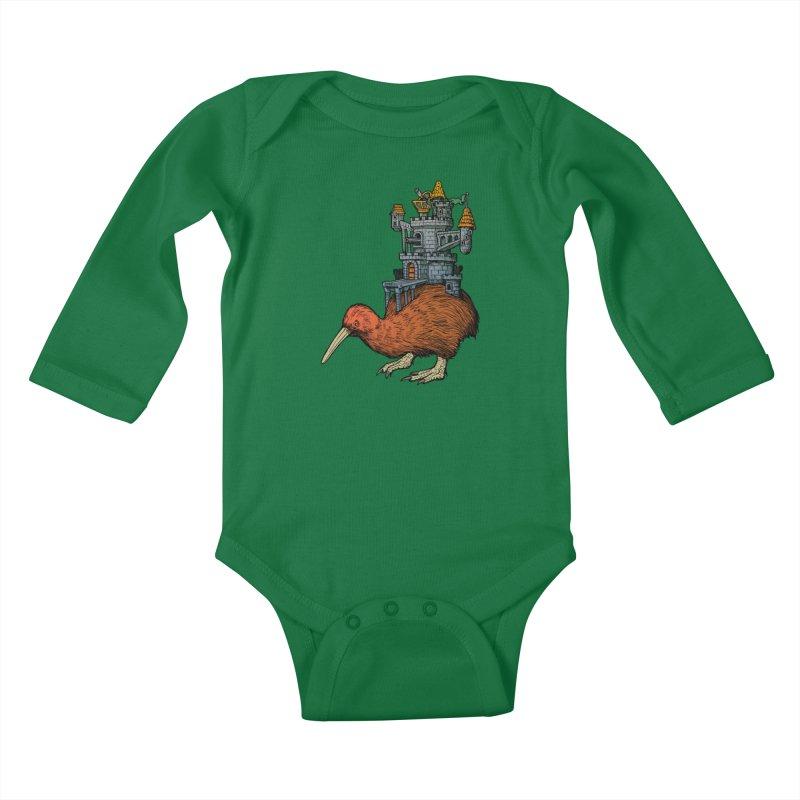 Kiwi Castle Kids Baby Longsleeve Bodysuit by Octophant's Artist Shop