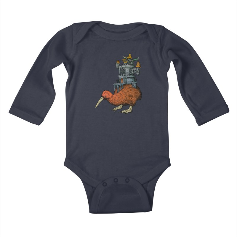 Kiwi Castle Kids Baby Longsleeve Bodysuit by Octophant's Artist Shop