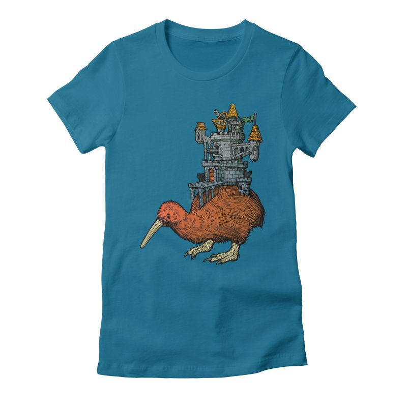 Kiwi Castle Women's Fitted T-Shirt by Octophant's Artist Shop