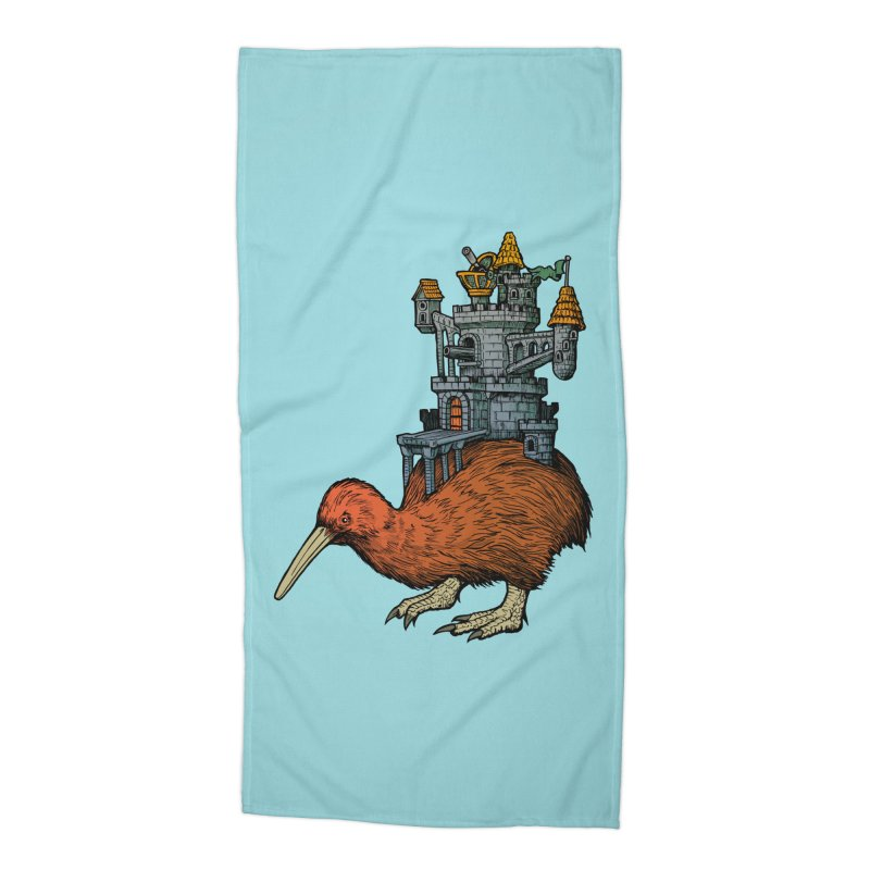 Kiwi Castle Accessories Beach Towel by Octophant's Artist Shop