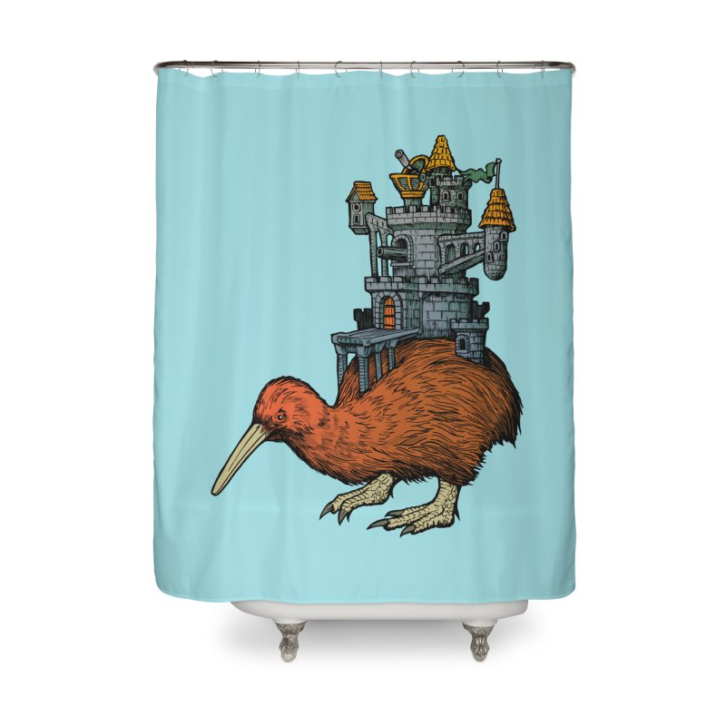 Kiwi Castle Home Shower Curtain by Octophant's Artist Shop