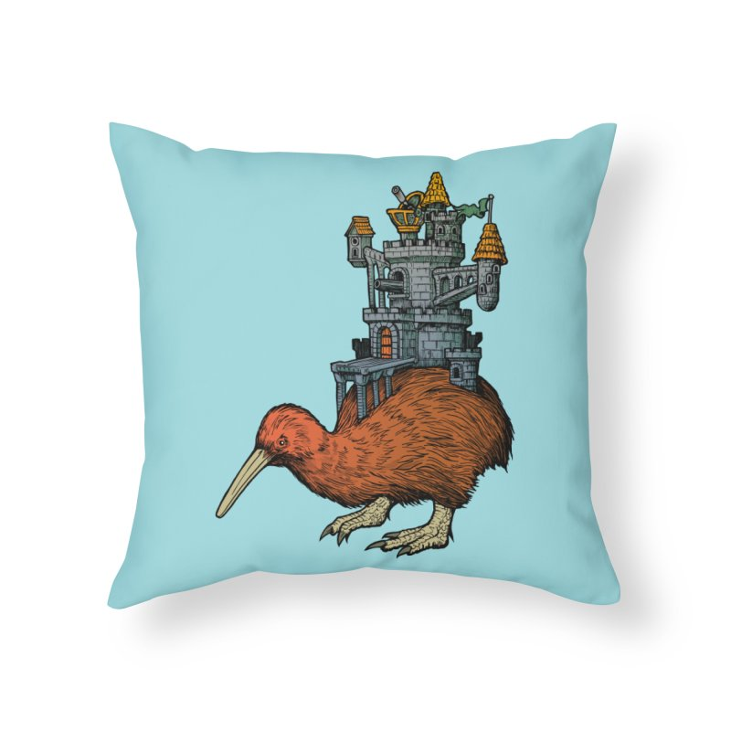 Kiwi Castle Home Throw Pillow by Octophant's Artist Shop