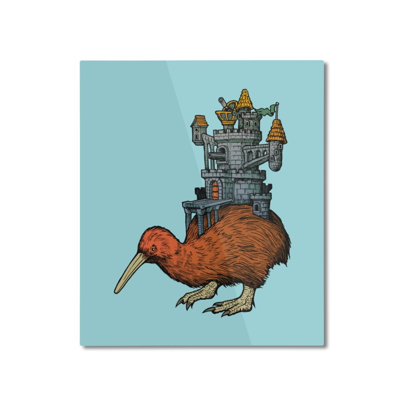 Kiwi Castle Home Mounted Aluminum Print by Octophant's Artist Shop