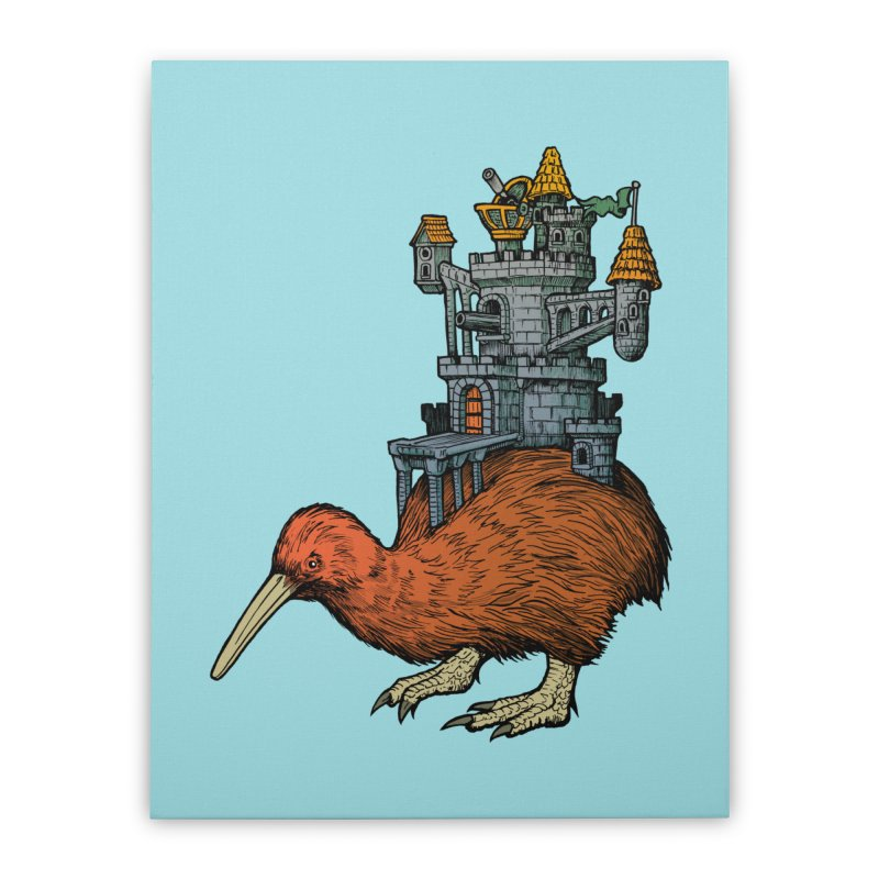Kiwi Castle Home Stretched Canvas by Octophant's Artist Shop