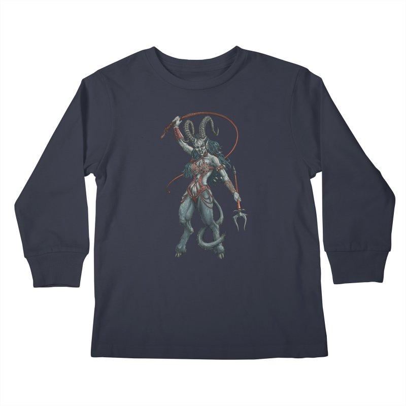 Krampus Pinup (Leather) Kids Longsleeve T-Shirt by Octophant's Artist Shop