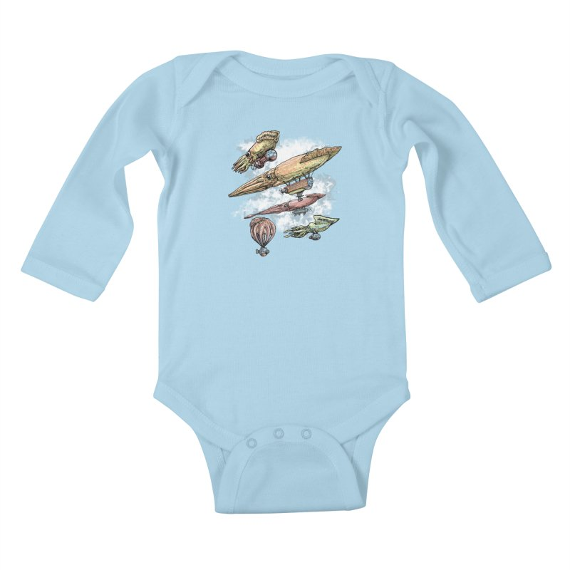 Squidirigibles Kids Baby Longsleeve Bodysuit by Octophant's Artist Shop