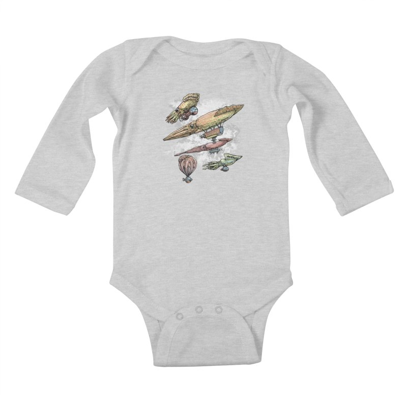 Squidirigibles Kids Baby Longsleeve Bodysuit by Octophant's Artist Shop