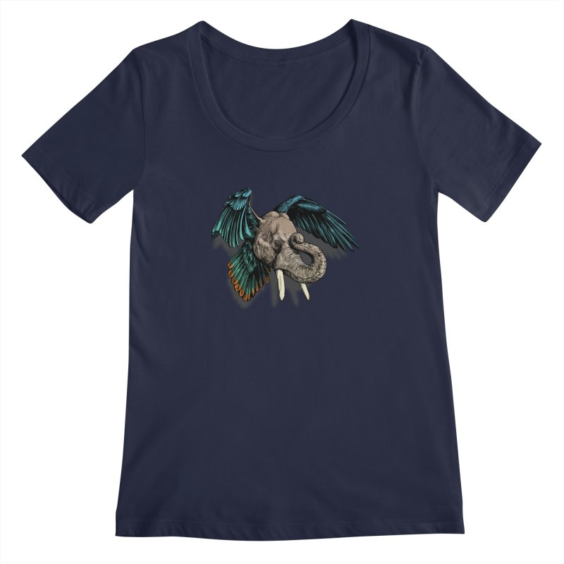 Rooktophant Women's Regular Scoop Neck by Octophant's Artist Shop