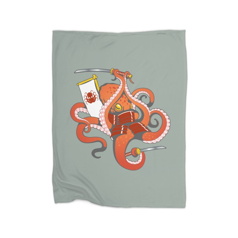 OctoSamurai Home Fleece Blanket Blanket by Octophant's Artist Shop