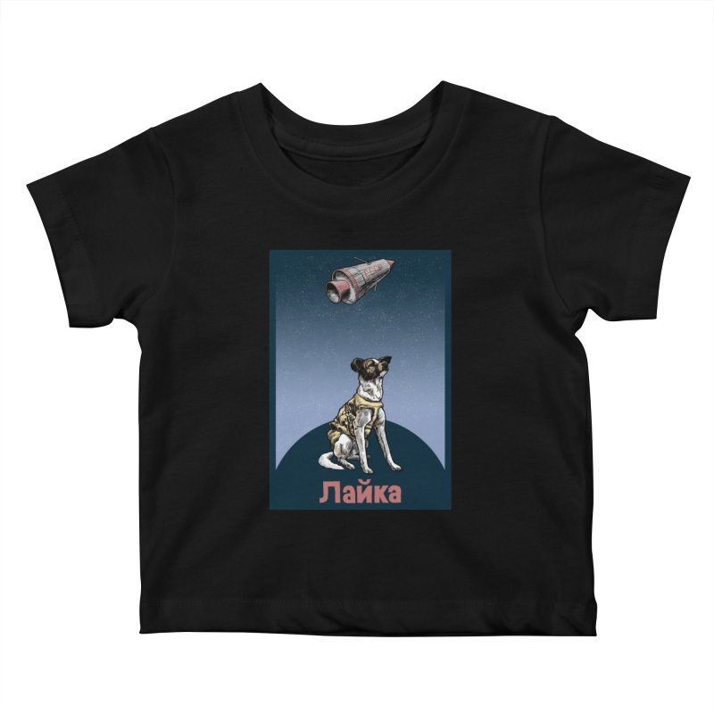 Laika Kids Baby T-Shirt by Octophant's Artist Shop