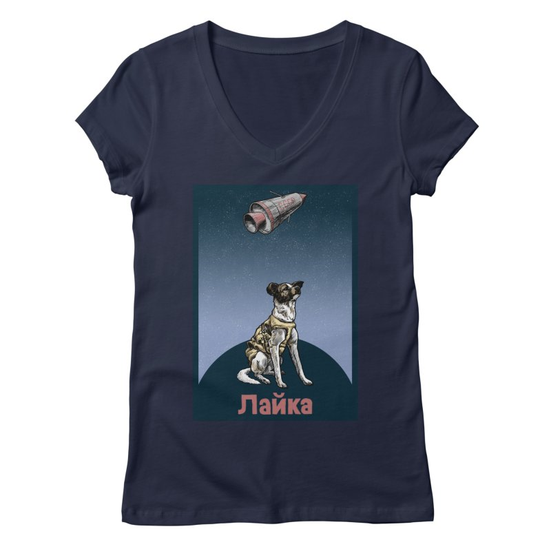 Laika Women's V-Neck by Octophant's Artist Shop
