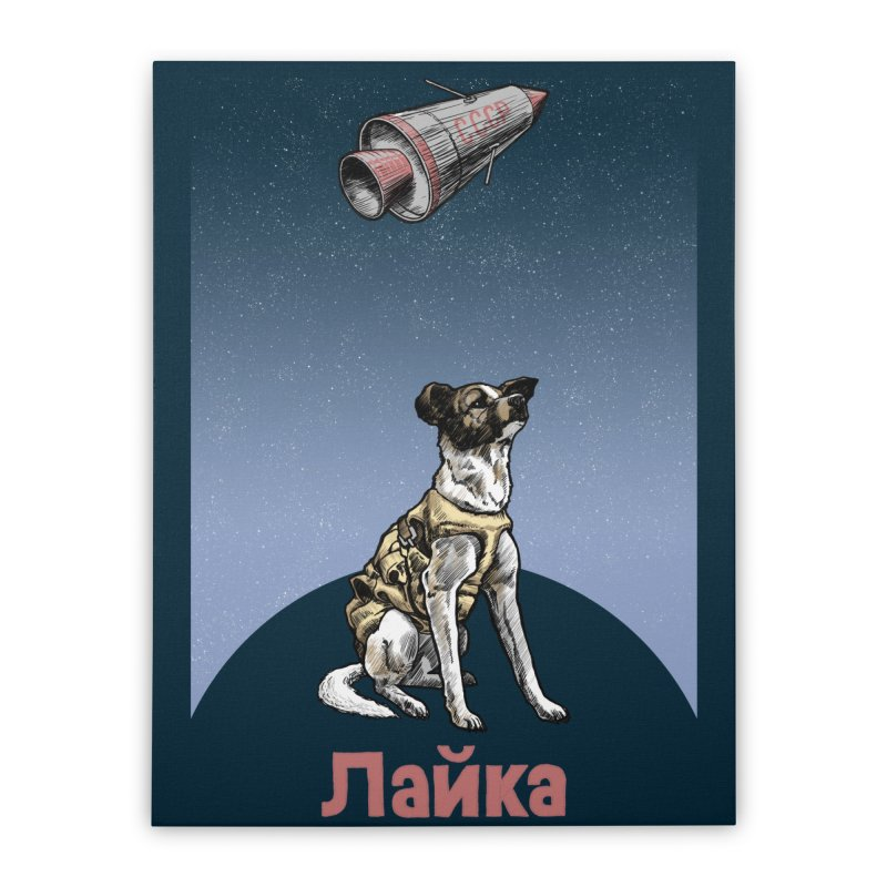 Laika Home Stretched Canvas by Octophant's Artist Shop