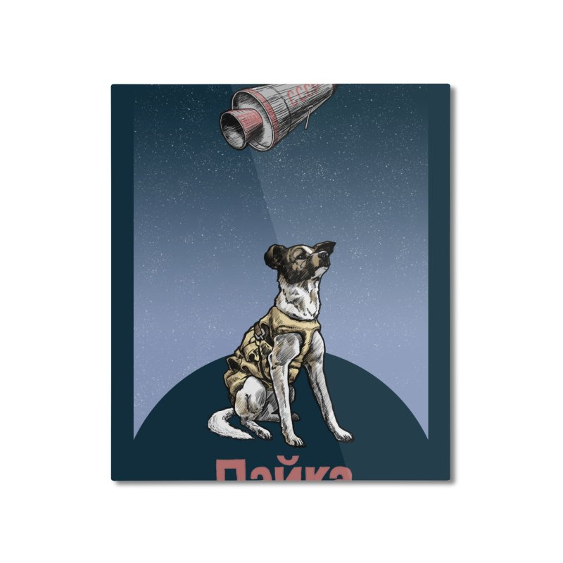Laika Home Mounted Aluminum Print by Octophant's Artist Shop