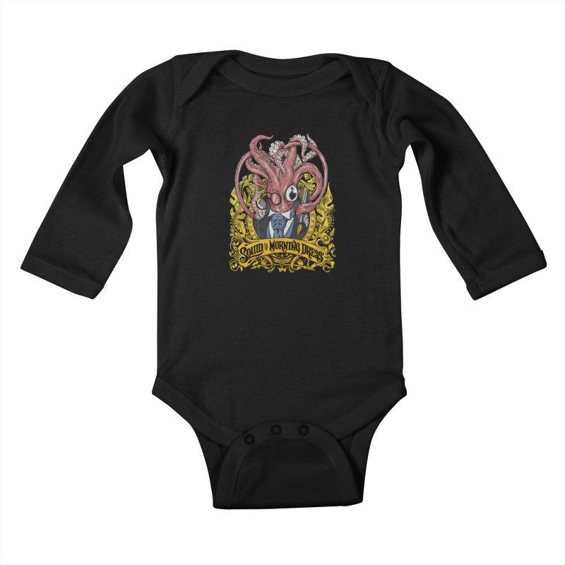 Squid in Morning Dress Kids Baby Longsleeve Bodysuit by Octophant's Artist Shop
