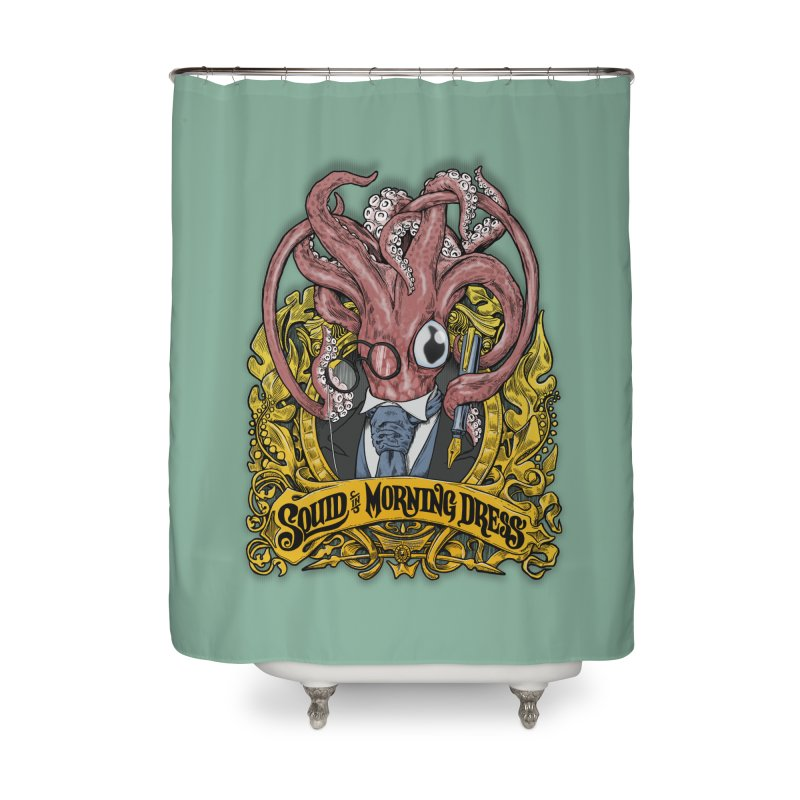 Squid in Morning Dress Home Shower Curtain by Octophant's Artist Shop