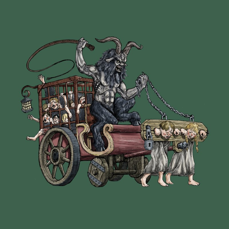 Krampus Wagon Women's Longsleeve T-Shirt by Octophant's Artist Shop