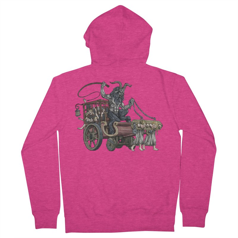 Krampus Wagon Women's French Terry Zip-Up Hoody by Octophant's Artist Shop