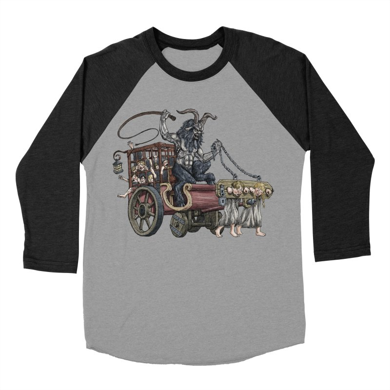 Krampus Wagon Men's Baseball Triblend Longsleeve T-Shirt by Octophant's Artist Shop