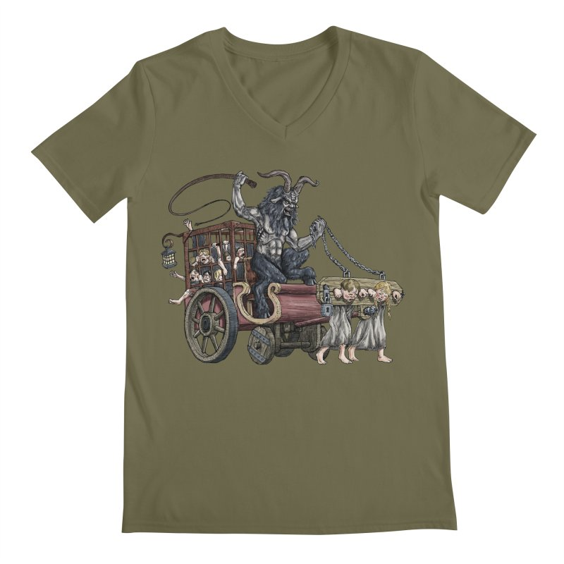 Krampus Wagon Men's V-Neck by Octophant's Artist Shop