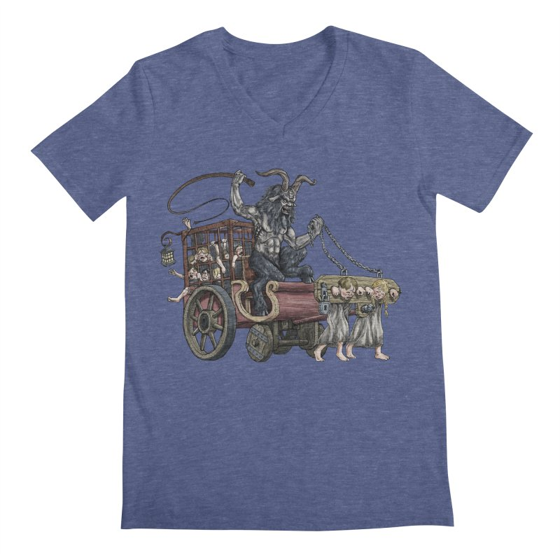 Krampus Wagon Men's V-Neck by Octophant's Artist Shop
