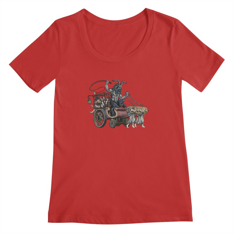 Krampus Wagon Women's Scoopneck by Octophant's Artist Shop