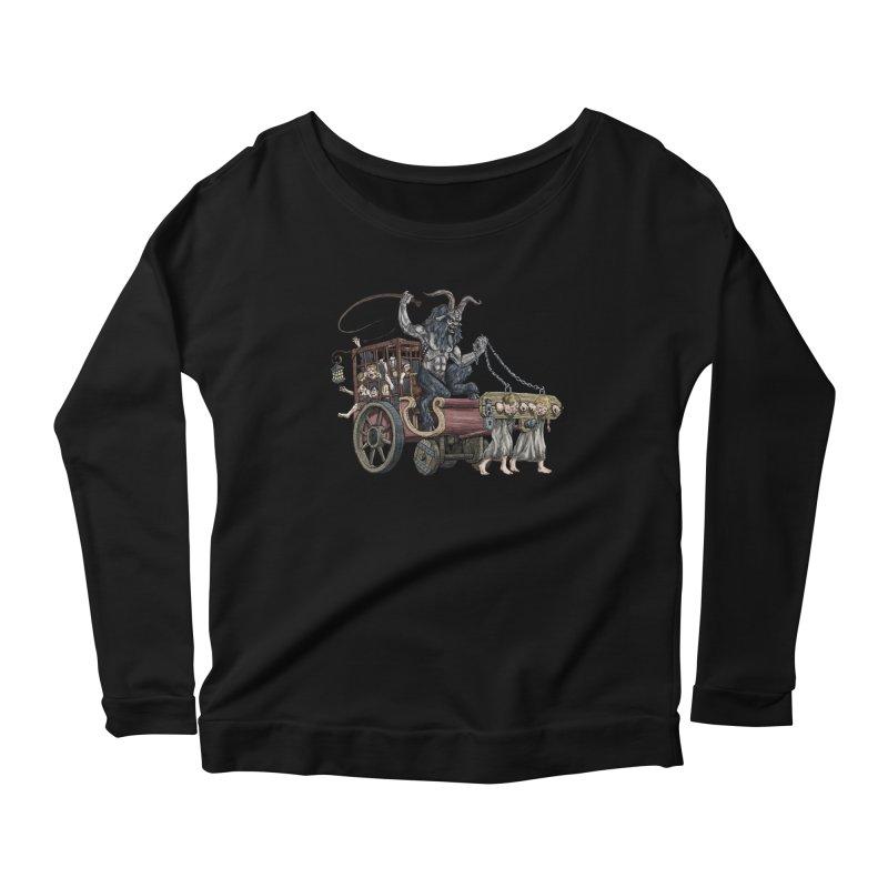 Krampus Wagon Women's Scoop Neck Longsleeve T-Shirt by Octophant's Artist Shop