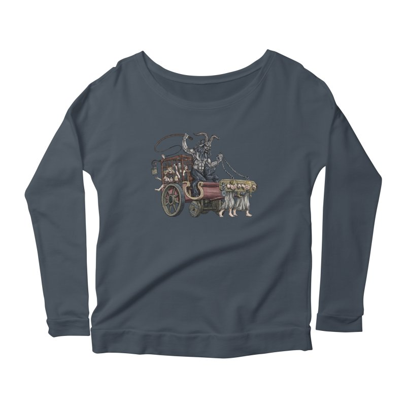 Krampus Wagon Women's Longsleeve Scoopneck  by Octophant's Artist Shop