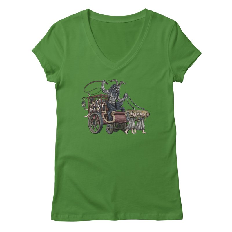 Krampus Wagon Women's V-Neck by Octophant's Artist Shop