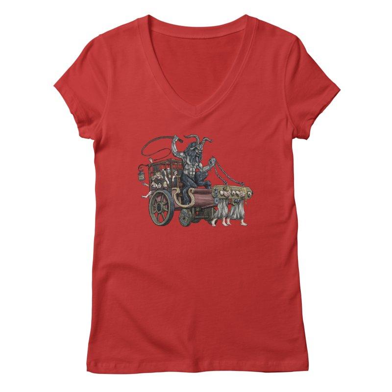 Krampus Wagon Women's Regular V-Neck by Octophant's Artist Shop