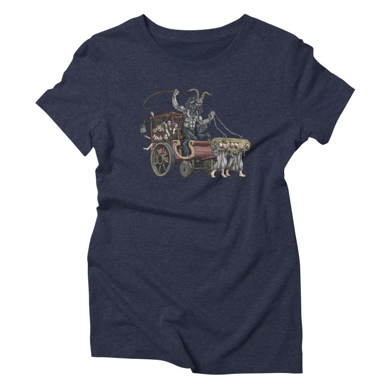 Krampus Wagon Women's Triblend T-Shirt by Octophant's Artist Shop