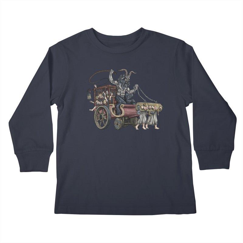 Krampus Wagon Kids Longsleeve T-Shirt by Octophant's Artist Shop