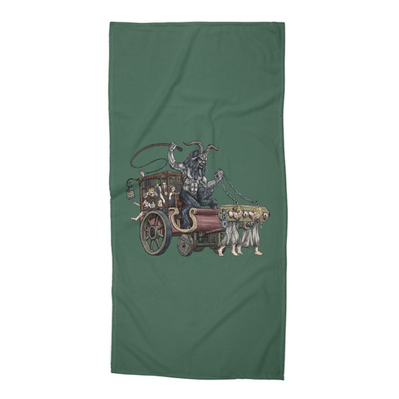 Krampus Wagon Accessories Beach Towel by Octophant's Artist Shop