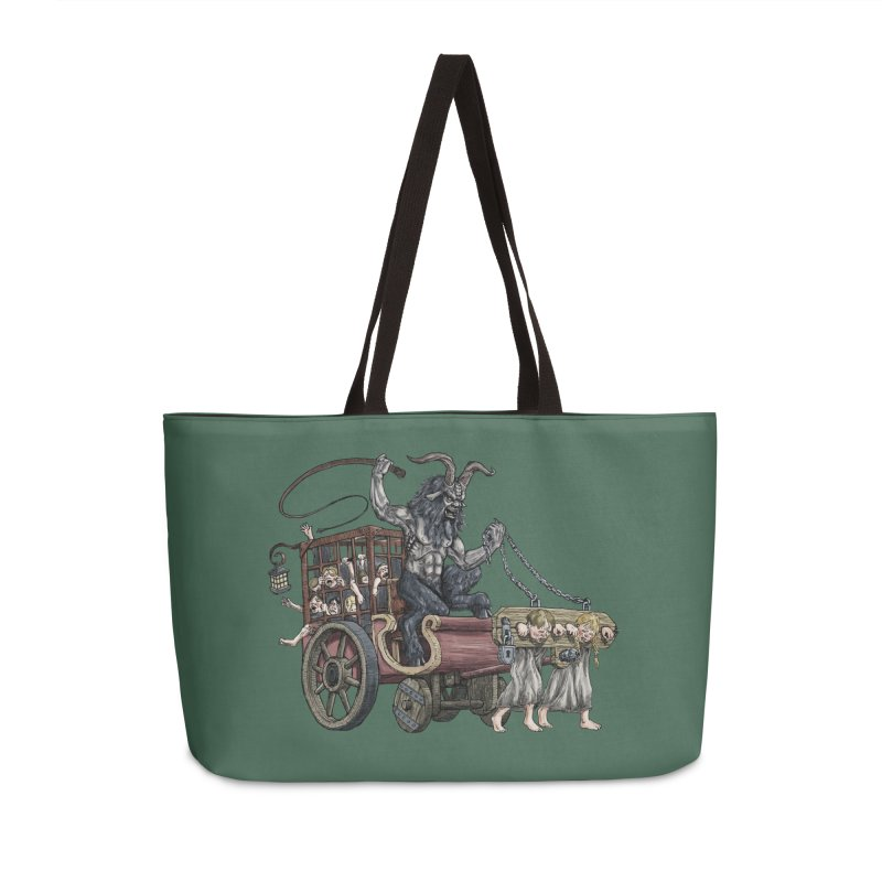 Krampus Wagon Accessories Weekender Bag Bag by Octophant's Artist Shop