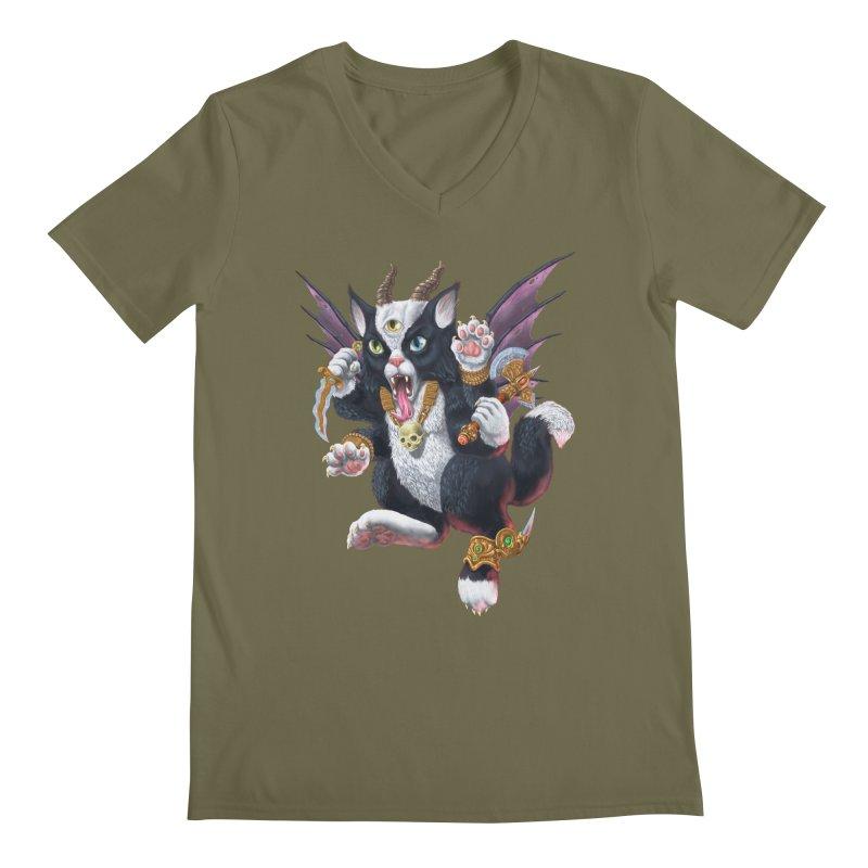 Demon Kitten Men's Regular V-Neck by Octophant's Artist Shop