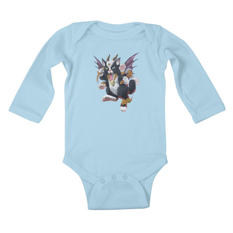 Demon Kitten Kids Baby Longsleeve Bodysuit by Octophant's Artist Shop