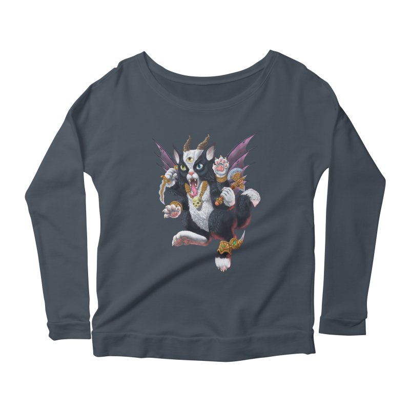 Demon Kitten Women's Scoop Neck Longsleeve T-Shirt by Octophant's Artist Shop