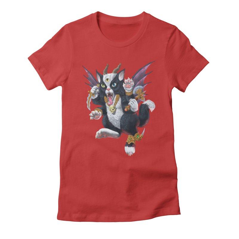 Demon Kitten Women's Fitted T-Shirt by Octophant's Artist Shop