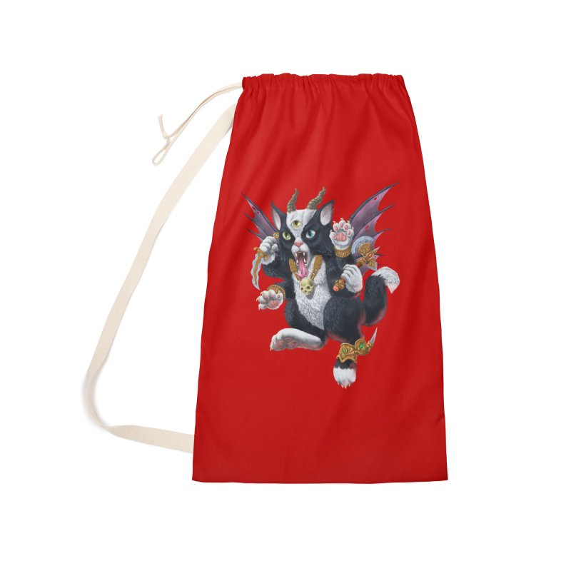 Demon Kitten Accessories Laundry Bag Bag by Octophant's Artist Shop