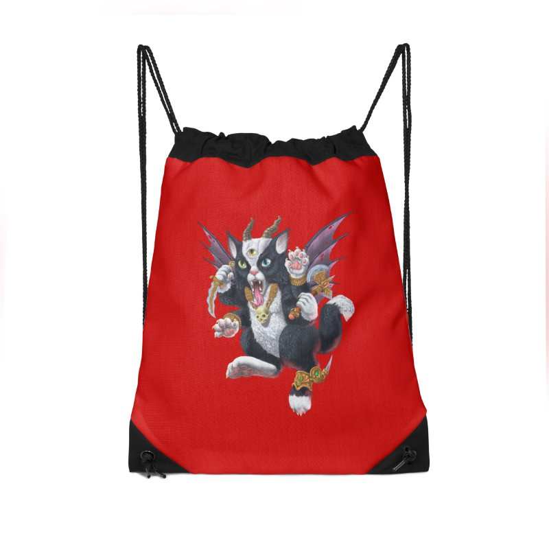 Demon Kitten Accessories Drawstring Bag Bag by Octophant's Artist Shop