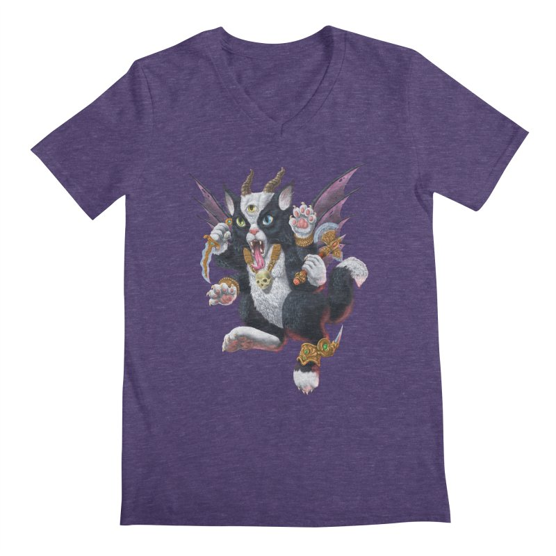 Demon Kitten Men's V-Neck by Octophant's Artist Shop