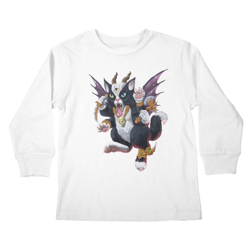 Demon Kitten Kids Longsleeve T-Shirt by Octophant's Artist Shop
