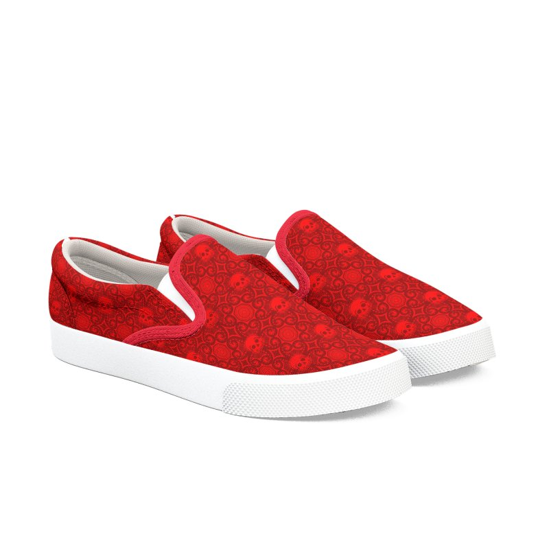 Calavera del Pulpo - Red Men's Slip-On Shoes by Octophant's Artist Shop