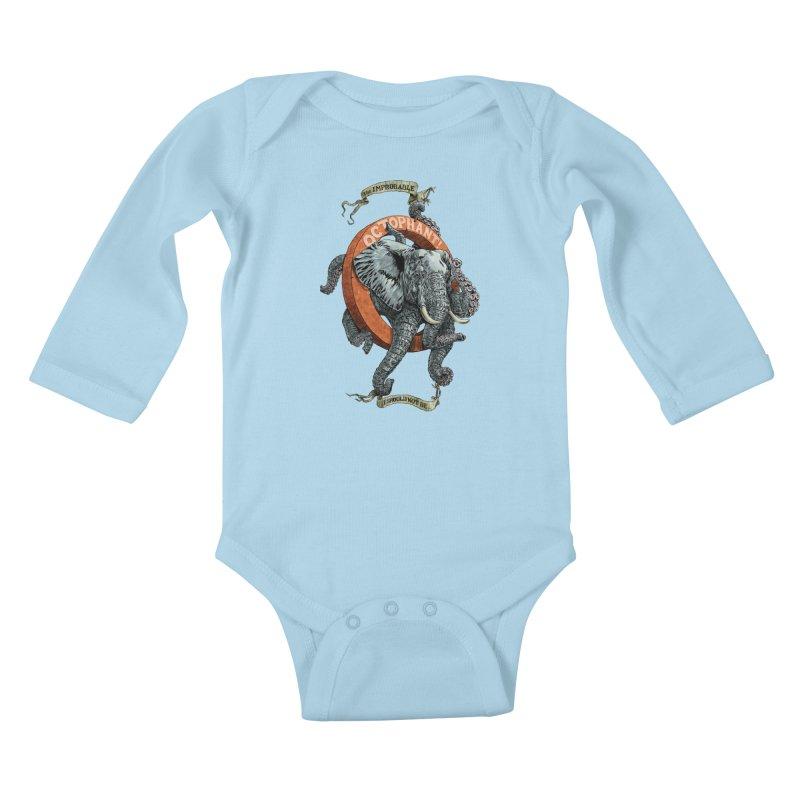 The Improbable Octophant Kids Baby Longsleeve Bodysuit by Octophant's Artist Shop