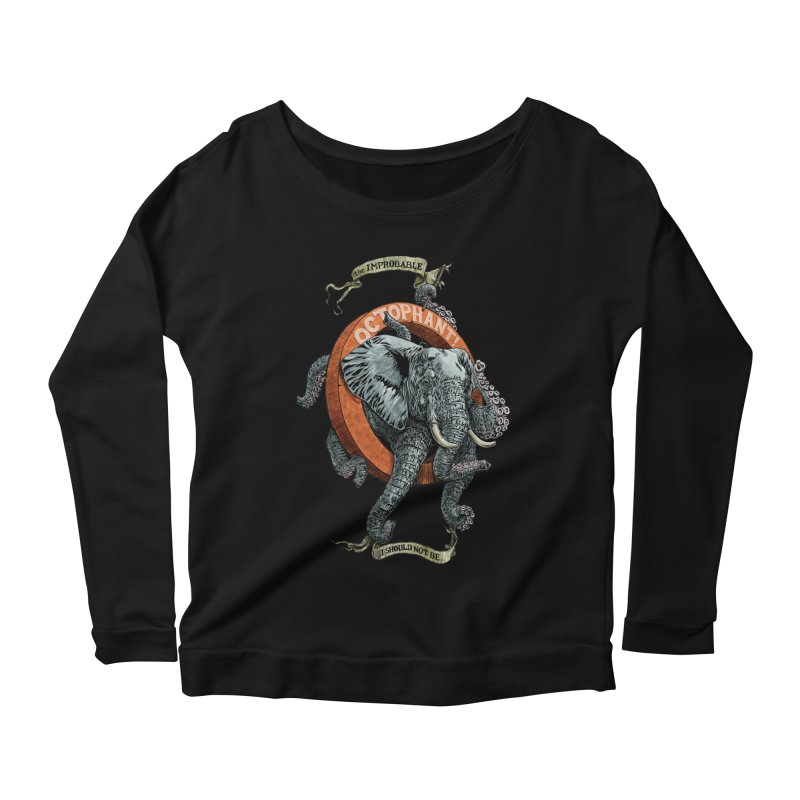 The Improbable Octophant Women's Longsleeve Scoopneck  by Octophant's Artist Shop
