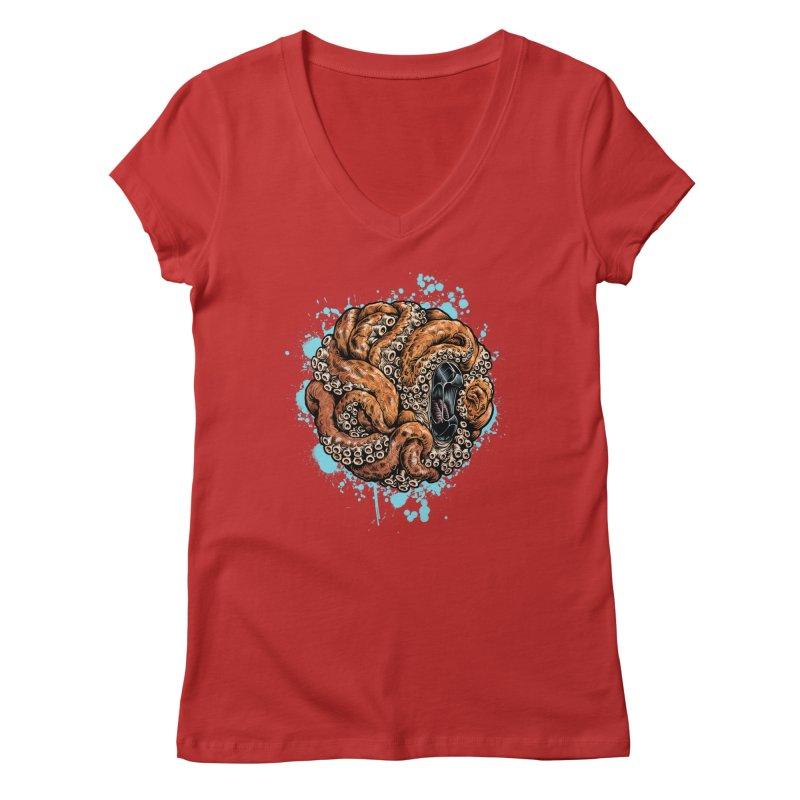 Orange Ball of Love Women's Regular V-Neck by Octophant's Artist Shop