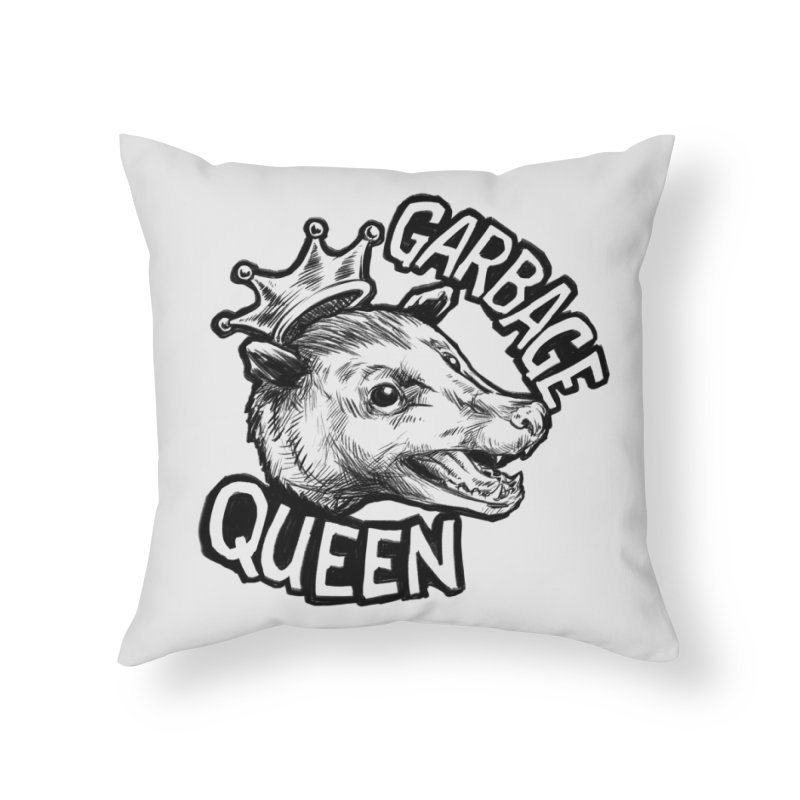 Garbage Queen (Black) Home Throw Pillow by Octophant's Artist Shop