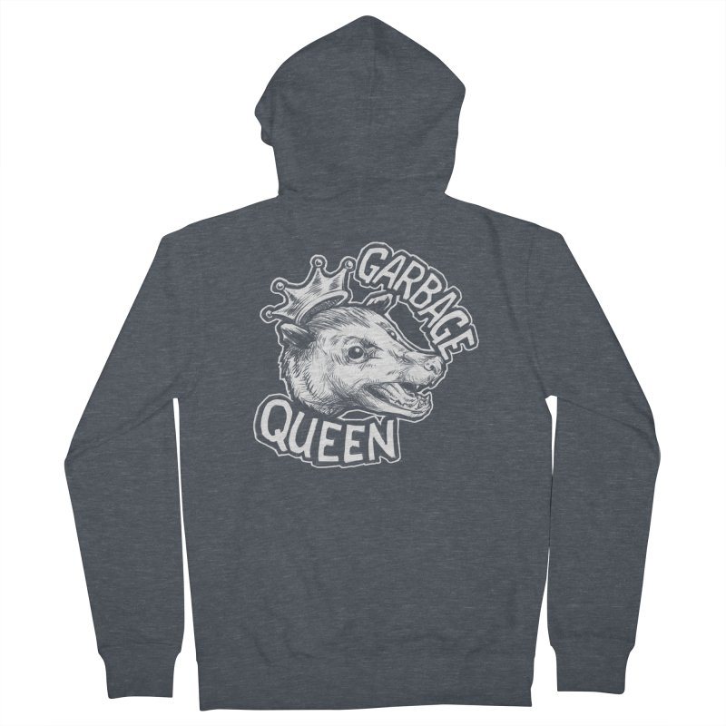 Garbage Queen (White) Women's French Terry Zip-Up Hoody by Octophant's Artist Shop