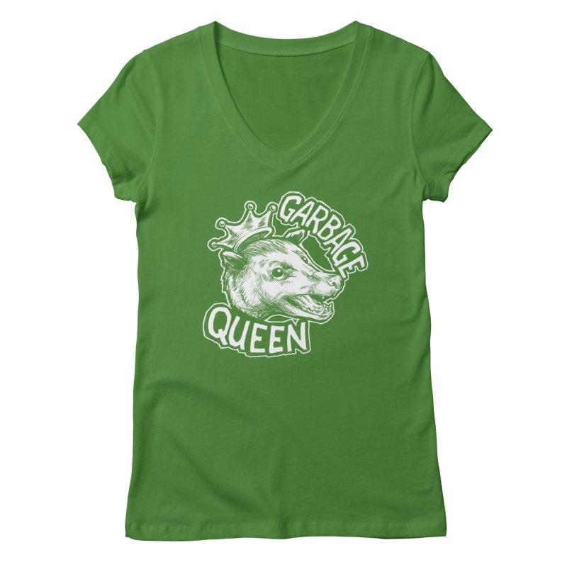 Garbage Queen (White) Women's Regular V-Neck by Octophant's Artist Shop