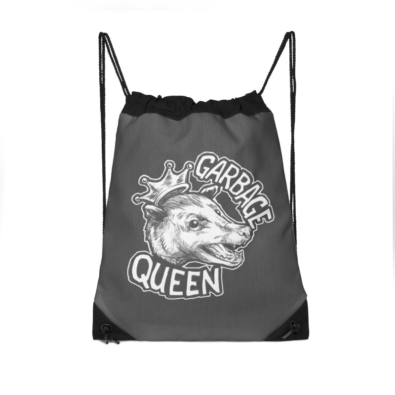 Garbage Queen (White) Accessories Drawstring Bag Bag by Octophant's Artist Shop
