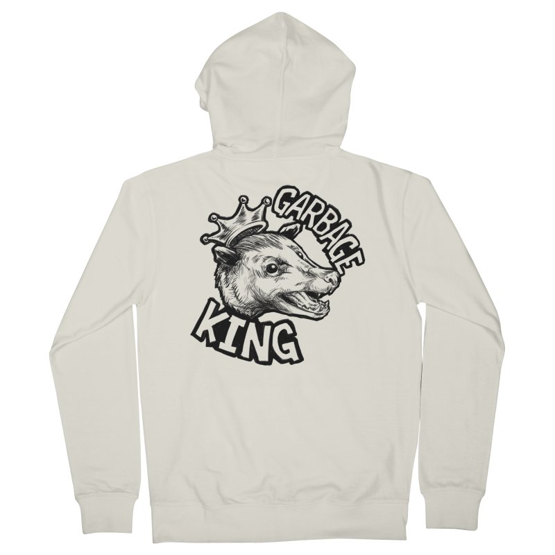 Garbage King (Black) Men's French Terry Zip-Up Hoody by Octophant's Artist Shop